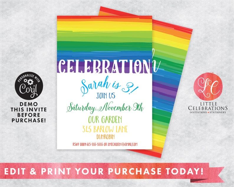 Rainbow Digital Birthday Party Invitation 1st Birthday image 0