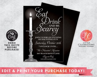 INSTANT DOWNLOAD - Halloween Party Invitation - Spooky Halloween - Halloween House Party Invitation - Editable Invitation - Edit Now!