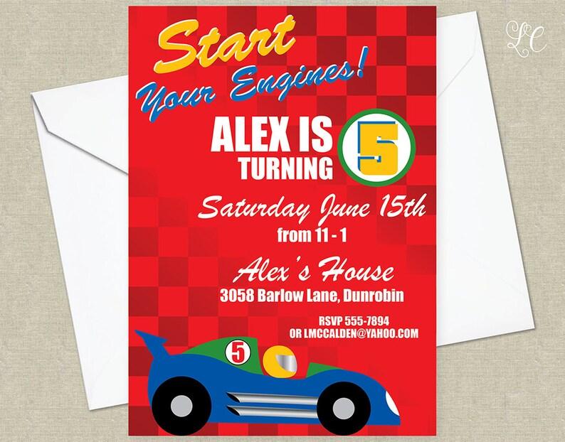 Race Car Birthday Invitation  Racing Cars Birthda Party image 0