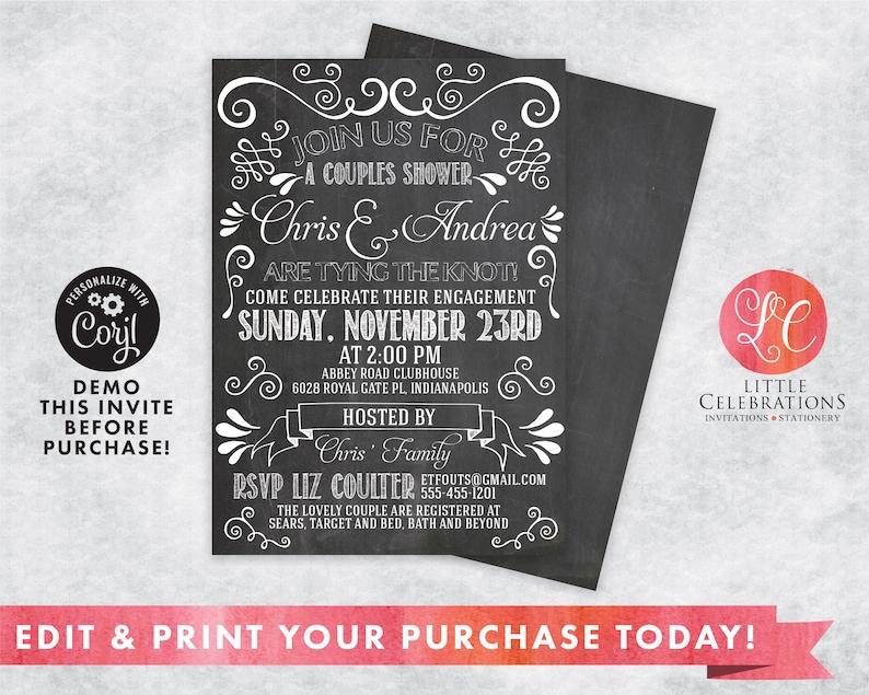 INSTANT DOWNLOAD Vintage Chalkboard Wedding Invitation image 0