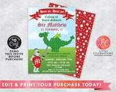 Knights and Dragons Birthday Party Invitation -  Knights Invitation - Dragon Invitation - Medieval Invitation - Corjl Template - Editable