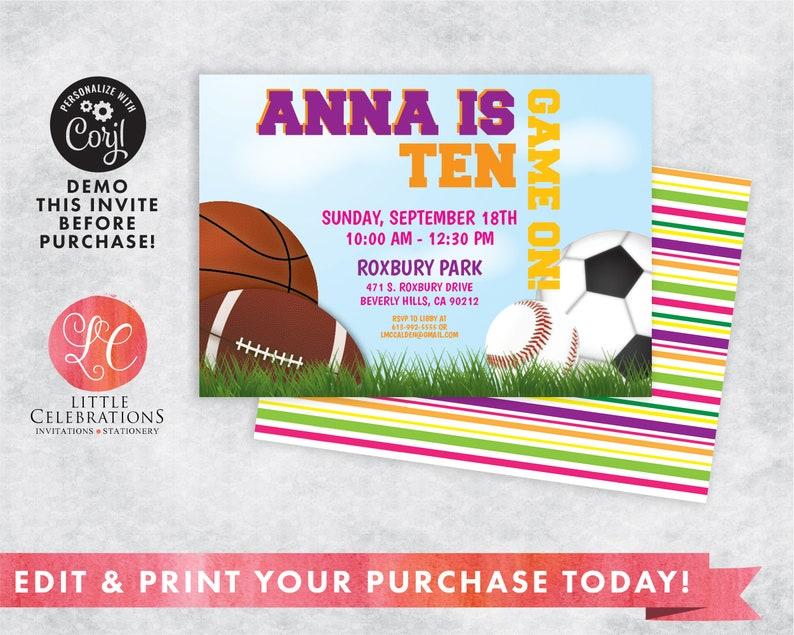Editable Sports Birthday Invitation  Sports Party  Print it image 0