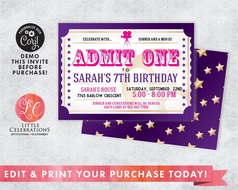 Movie Night Birthday Invitation Ticket
