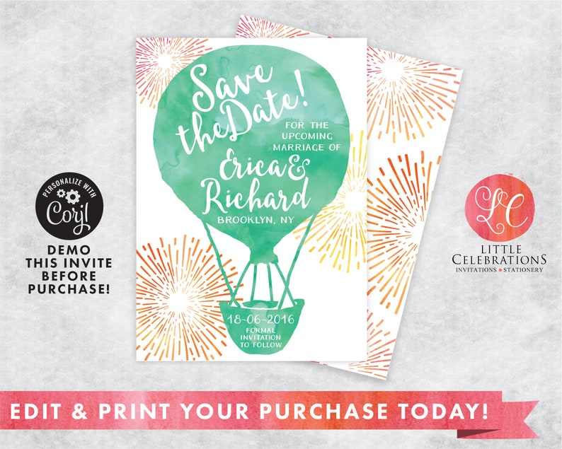 Water Color Hot Air Ballon Save the Date Announcement  Save image 0