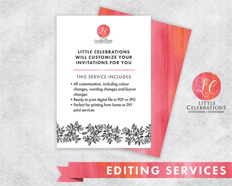 EDIT MY INVITATIONS  Editing Service for Invitations  image 0