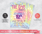 Pastel Tie Dye Birthday Party Digital Download Invitation, Crafty Invitations, Tie Dye Editable Invitation, Craft Party Editable invitation
