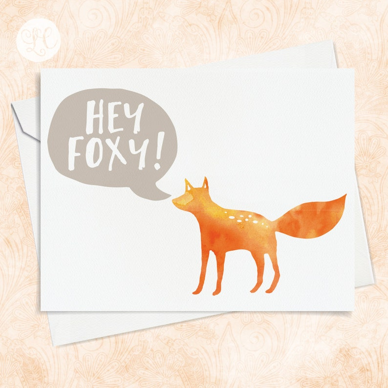 Hey Foxy Greeting Card  A2 Greeting Card  Best Friends Card image 0
