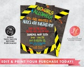 No Girls Allowed Birthday Invitation - Boys Only Party -  Boys Club Birthday Invitation - Fort Building Party -Corjl Template - Editable