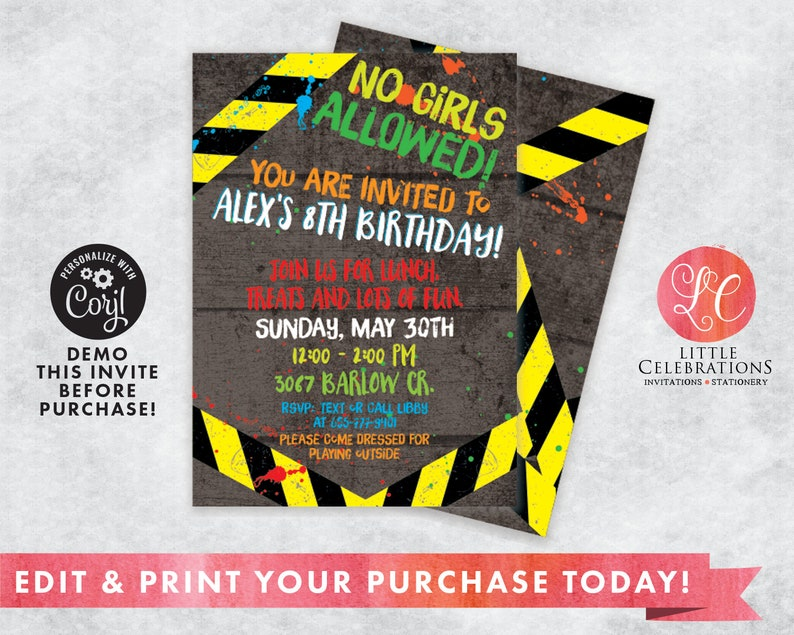 No Girls Allowed Birthday Invitation  Boys Only Party   Boys image 0