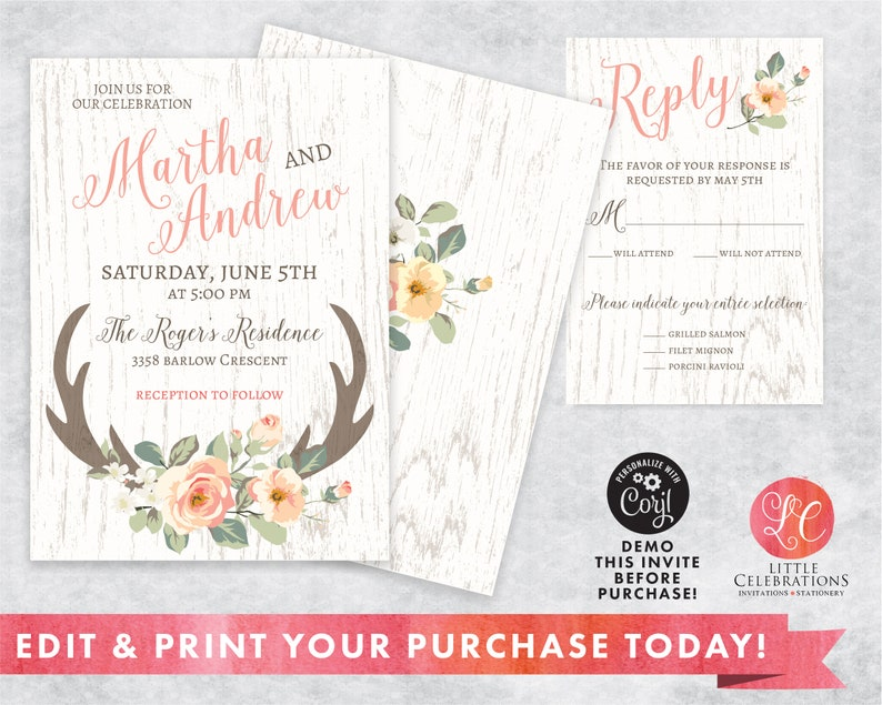 Country Wedding Invitation  Printable Wedding Invitation  image 0