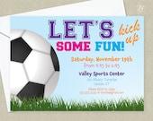 Girls Soccer Birthday Party Invitation - Sports Birthday Invitation