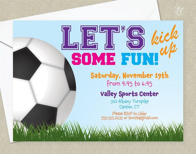 Girls Soccer Birthday Party Invitation  Sports Birthday image 0