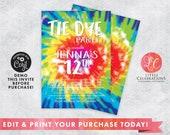 Tie Dye Birthday Party Digital Download Invitation, Crafty Invitations, Tie Dye Editable Invitation, Craft Party Editable invitation, Corjl