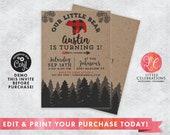 One Year Old Birthday Invitation - Woodland Birthday - Little Bear Invitation - Little Boy Invitation - Edit Now - Editable Invitation