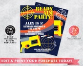 Dart Gun Birthday Invitation, Dart War Birthday Party Invitation, Dart Gun Party Digital Invitation, Dart Battle Invitation Digital Template