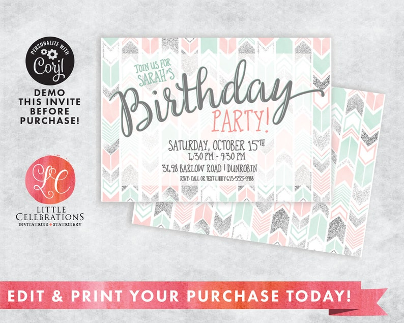 Teen Birthday Invitation  Silver Mint Coral Invitation  image 0