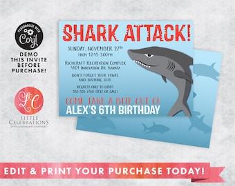 DIGITAL DOWNLOAD Birthday Invitation, Shark Invitation, Shark Pool Party Invitation, Party Invitation, Shark Party Invitation, Fish Birthday