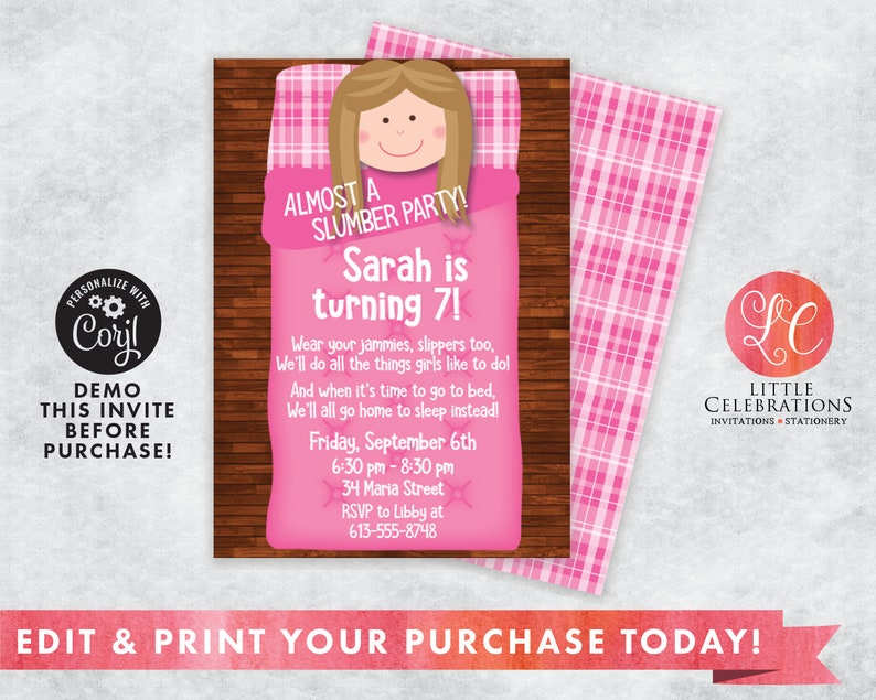 Almost a Slumber Party Birthday Party Invitation  Sleepover image 0