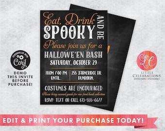 INSTANT DOWNLOAD - Halloween Chalkboard Invitation - Halloween Party Invitation - Cute Halloween Party - Editable Invitation - Edit Now!