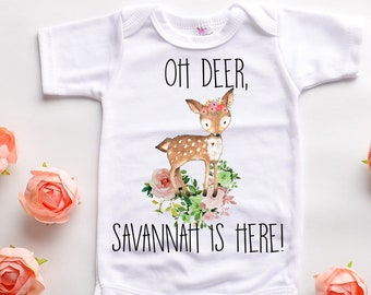f24459f5 Babies first personalized custom outfit, deer newborn baby shirt, woodland  girls onesie, boho bohemian flower tee, hospital take home outfit