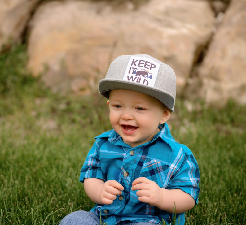 9bf8fe257 Boys hat, snapback baseball cap, toddler boy flat bill, straight brim black  and gray, outdoor nature wild trendy daddy and me hat with snaps
