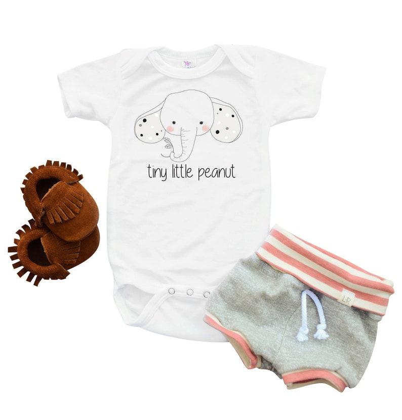 e3190c1632de Gender neutral elephant baby clothes tiny little peanut | Etsy