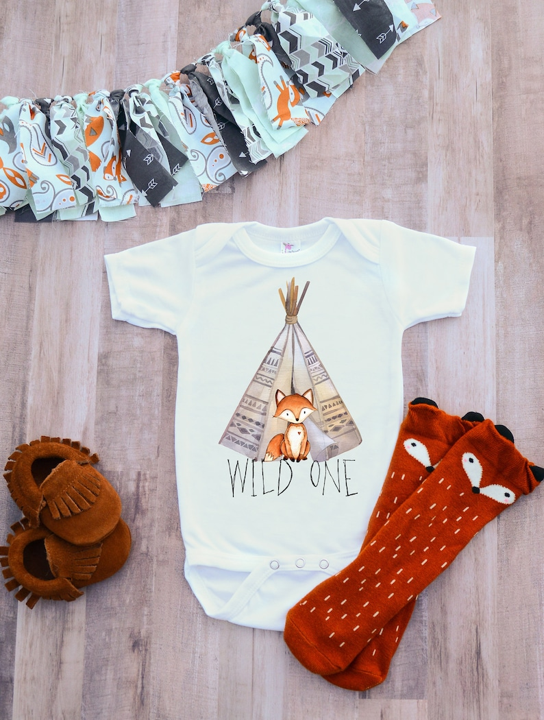 Wild one first birthday outfit, fox birthday shirt, woodland boys party bodysuit, boho one tee, hippie baby romper, photography cake smash