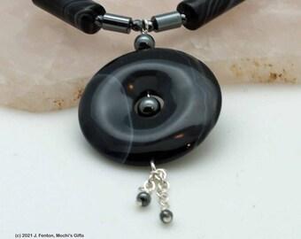 Onyx donut necklace