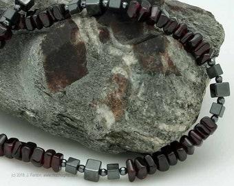 Garnet & hematite necklace