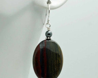 Tiger iron oval earrings