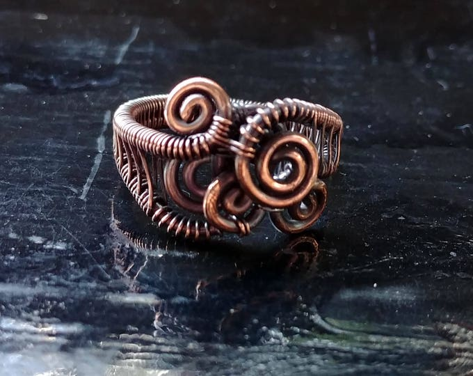 Ring. Abstract Swirl. Size 7.5. Wire Wrapped. Jewelry. Handmade.