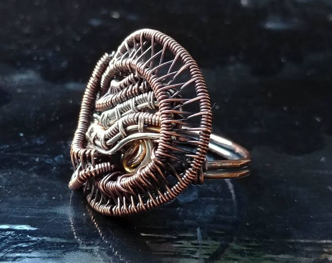 Ring. Heady. Size 9. Wire Wrapped. Jewelry. Handmade.