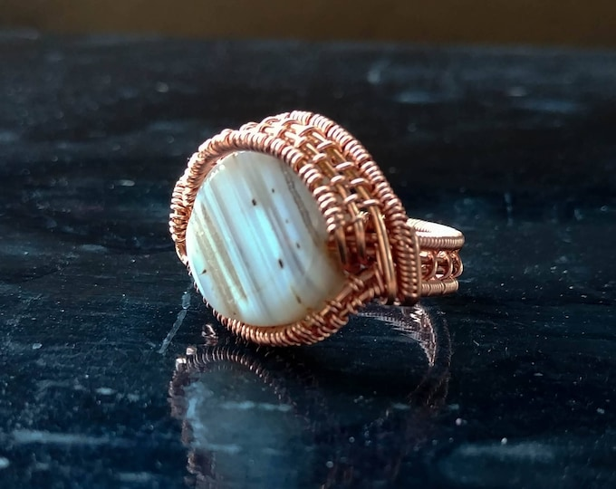 Ring. Agate Eye. Size 6. Wire Wrapped. Jewelry. Handmade.