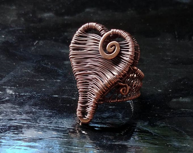 Ring. Armored Heart. Size 7.5. Wire Wrapped. Jewelry. Handmade.