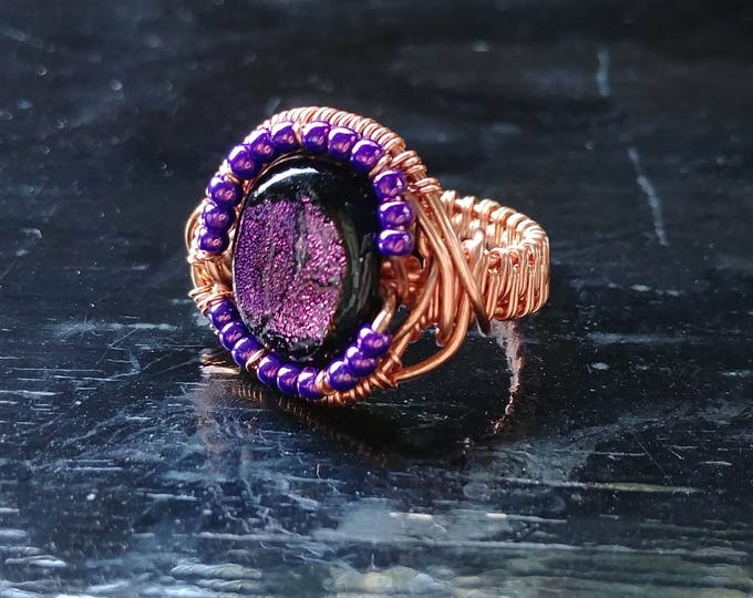 Ring. Purple Glass. Size 7. Wire Wrapped. Jewelry. Handmade.