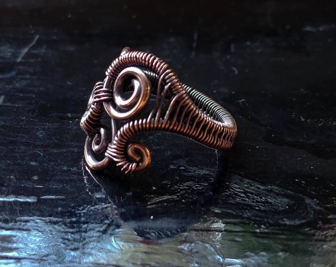 Ring. Abstract Swirl.  Size 6.5. Wire Wrapped. Jewelry. Handmade.