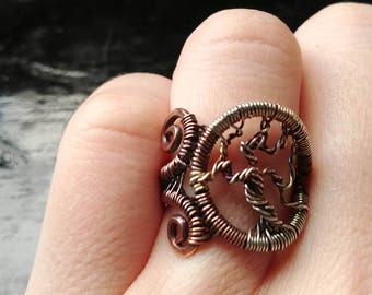 Ring. Silver Tree.  Size 6.5. Wire Wrapped. Jewelry. Handmade.
