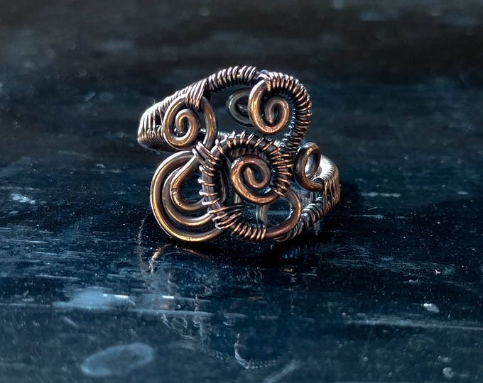 Ring. Abstract Swirl. Size 10.5. Wire Wrapped. Jewelry. Handmade.