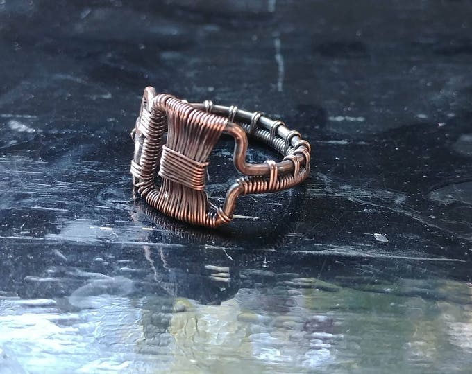 Ring. Square Tie.  Size 7. Wire Wrapped. Jewelry. Handmade.