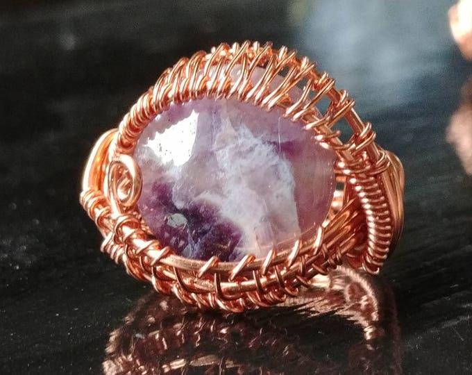 Ring. Amethyst Eye II. Size 6. Wire Wrapped. Jewelry. Handmade.