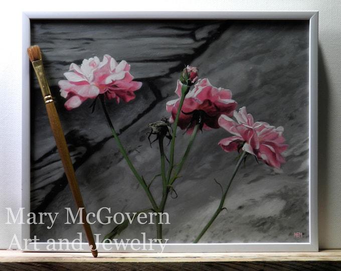 Three Pink Roses. Original Oil Painting.