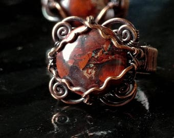 Ring. Red Jasper Squiggle. Size 7. Wire Wrapped. Jewelry. Handmade.