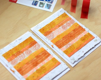 Handmade Card - Hand Painted Card - Hand Drawn Card - Greeting Card - Art Card - Birthday Card - Blank Card - Orange Card - Citrus - Oranges