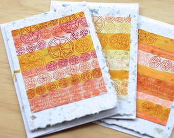 Handmade Card - Hand Painted Card - Hand Drawn Card - Greeting Card - Art Card - Blank Card - Birthday Card - Orange Card - Citrus - Oranges
