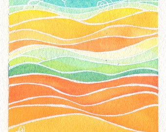 Mini Watercolor Painting Abstract Landscape Surreal - Orange
