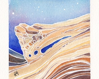 Mini Watercolor Painting Abstract Surreal Landscape - Beige