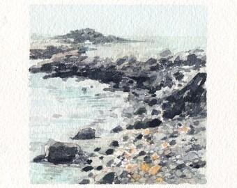 Mini Watercolor Painting Landscape Beach Coast - Silver
