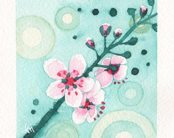 Mini Watercolor Painting Cherry Blossoms - Teal