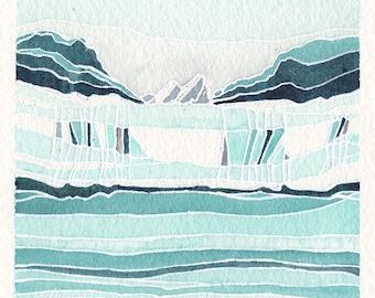 Mini Watercolor Painting Abstract Landscape Surreal Glacier Alaska - Turquoise