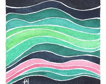 Mini Watercolor Painting Abstract Surreal - Pearl